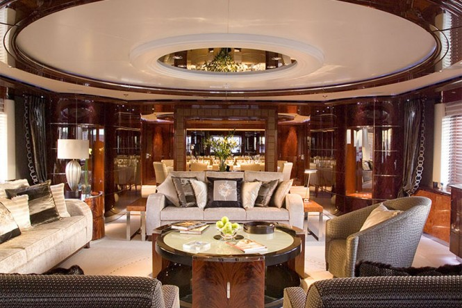 Mega yacht Talisman Maiton - Main salon. Photo credit Proteksan Turquoise