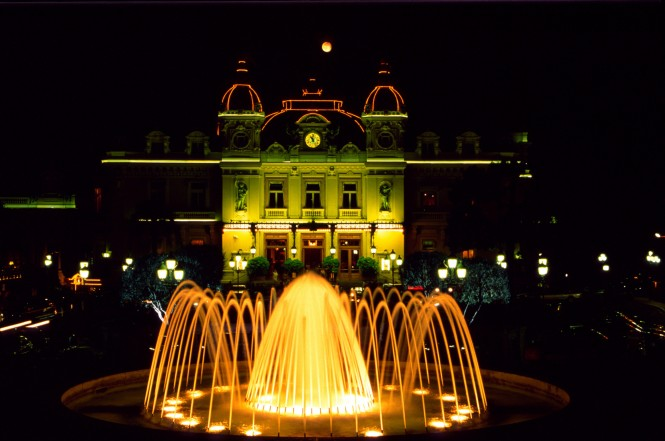Monaco Casino fountain at night - Image credit Monaco Press Centre