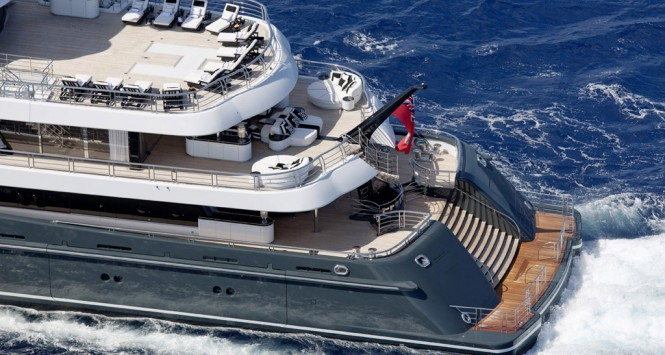 PHOENIX 2 view of aft decks and transom - Photo credit Lurssen