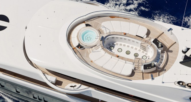 PHOENIX 2 view of sun deck from above - Photo credit Lurssen