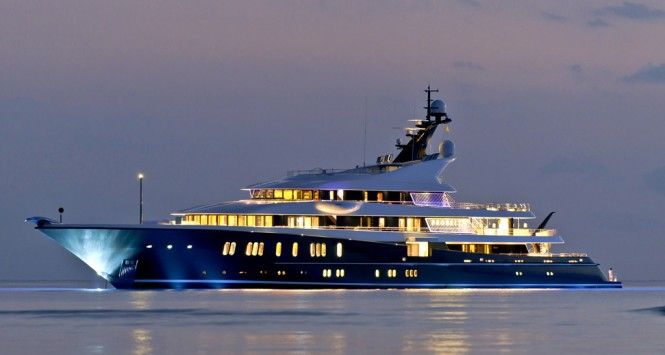 PHOENIX 2 yacht profile at night - Photo credit Lurssen