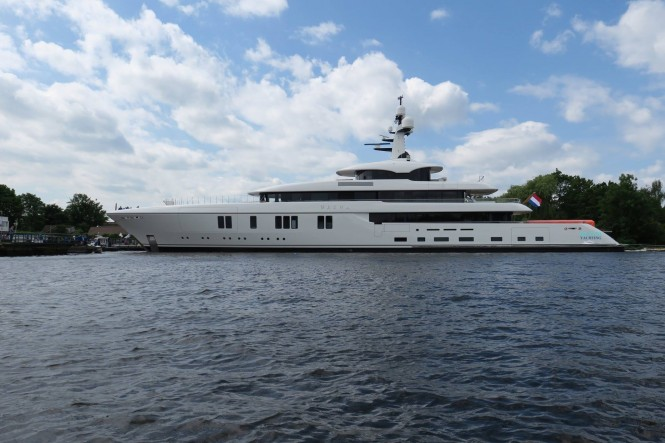Recently launched Feadship Superyacht Hasna. Photo credit Dutch Yachting
