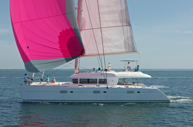 Sailing catamaran ENIGMA - A Lagoon 620 model. Photo credit Nicolas Claris