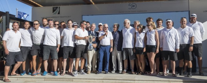 Saudade placed 1st overall in the Superyacht Class at the Loro Piana Superyacht Regatta 2017. Photo credits Borlenghi, YCCS and BIM