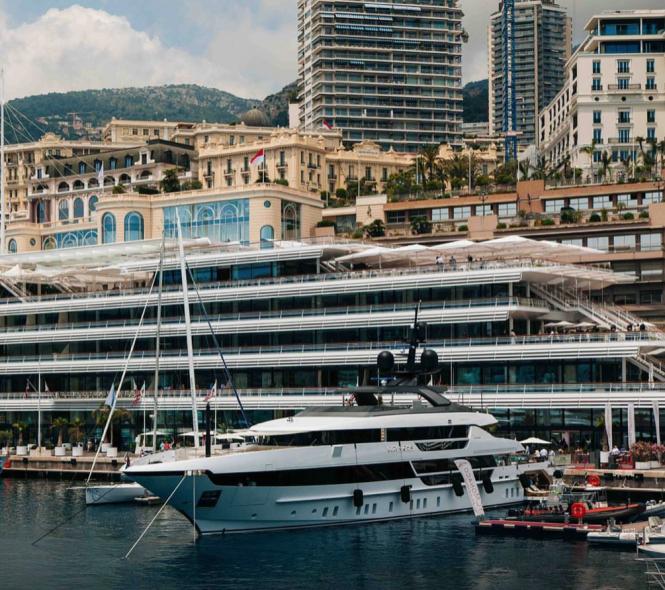 Seven Sins on preview in Monaco. Pgoro credit Sanlorenzo Yacht