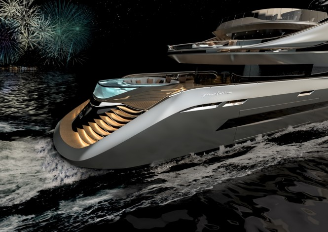 Stern view of luxury yacht AUREA concept with the largest beach club in her size range