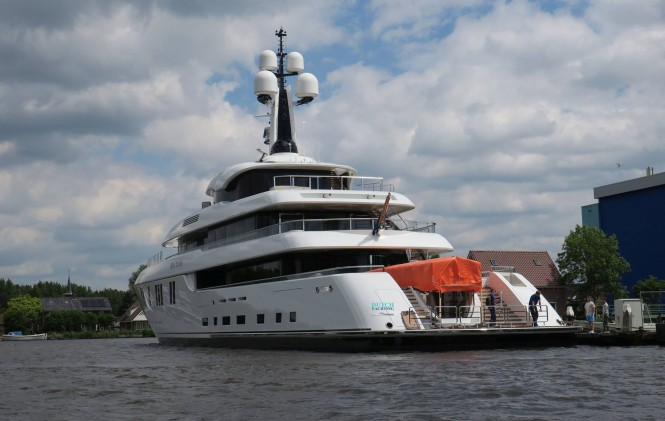 Superyacht Hasna launched by Feadship. Photo credit Dutch Yachting