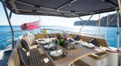 Superyacht INFATUATION - Alfresco dining in the cockpit