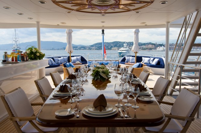 Superyacht INSIGNIA - Upper deck aft alfresco dining
