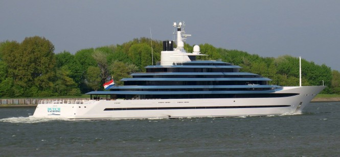 Superyacht Jubilee returns from sea trials. Photo credit Dutch Yachting