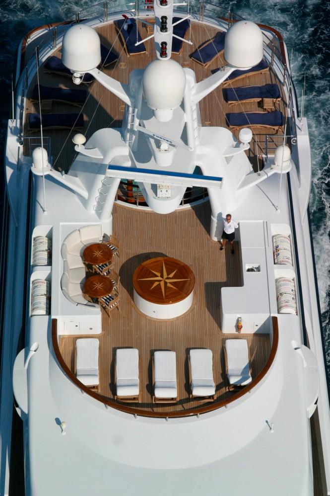 The split-level sundeck aboard superyacht FREEDOM