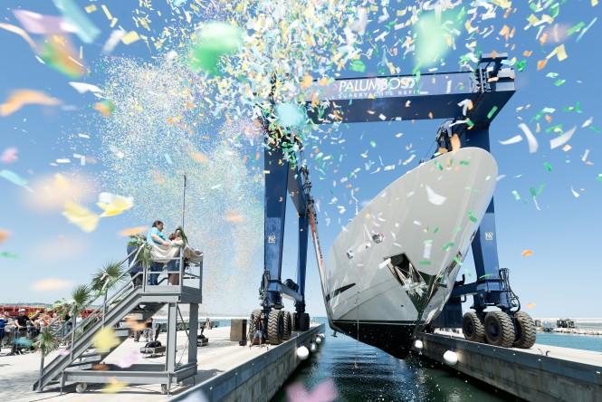 37m superyacht CLORINDA at launch. Photo credit ISA Yachts