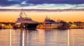 Luxury yachts harbor at golden hour view Zadar Croatia Dalmatia