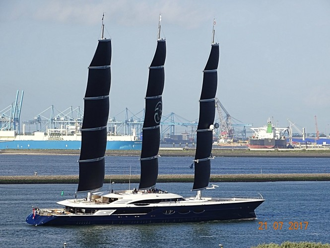 Black Pearl under sails for the first time. Photo credit Marcus Slabbers via Dutch Yachting