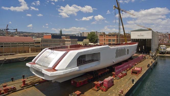 Columbus Yachts's 80m mega yacht leaving the Naples shipyard