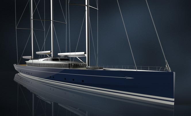 Concept image of Royal Huisman 400 by Dykstra Naval Architects and Mark Whiteley Design. Photo credit Royal Huisman