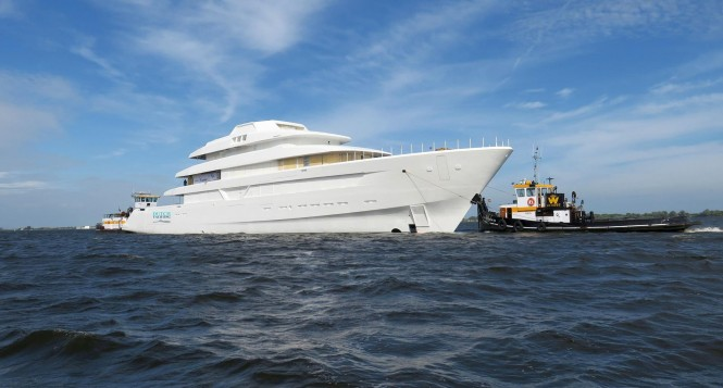 Feadship Hull #700 - technical launch. Photo credit Dutch Yachting