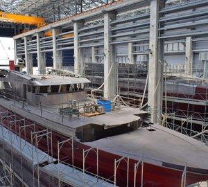 Andiamo sistership Hull 10228 in construction at Baglietto shipyard