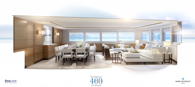 Interior concept for Royal Huisman 400 from Mark Whiteley Design. Photo credit Royal Huisman