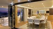 Luxury catamaran QUARANTA - Formal dining area and main deck aft