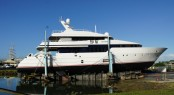 Luxury yacht BE MINE at the Oceania Marine facilities in Whangarei, New Zealand