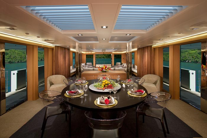 Luxury yacht big fish formal dining area yacht charter for Formal dining area