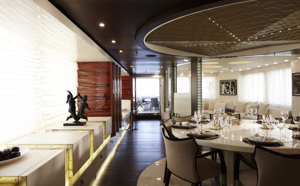 Luxury yacht e e main salon and formal dining area for Formal dining area