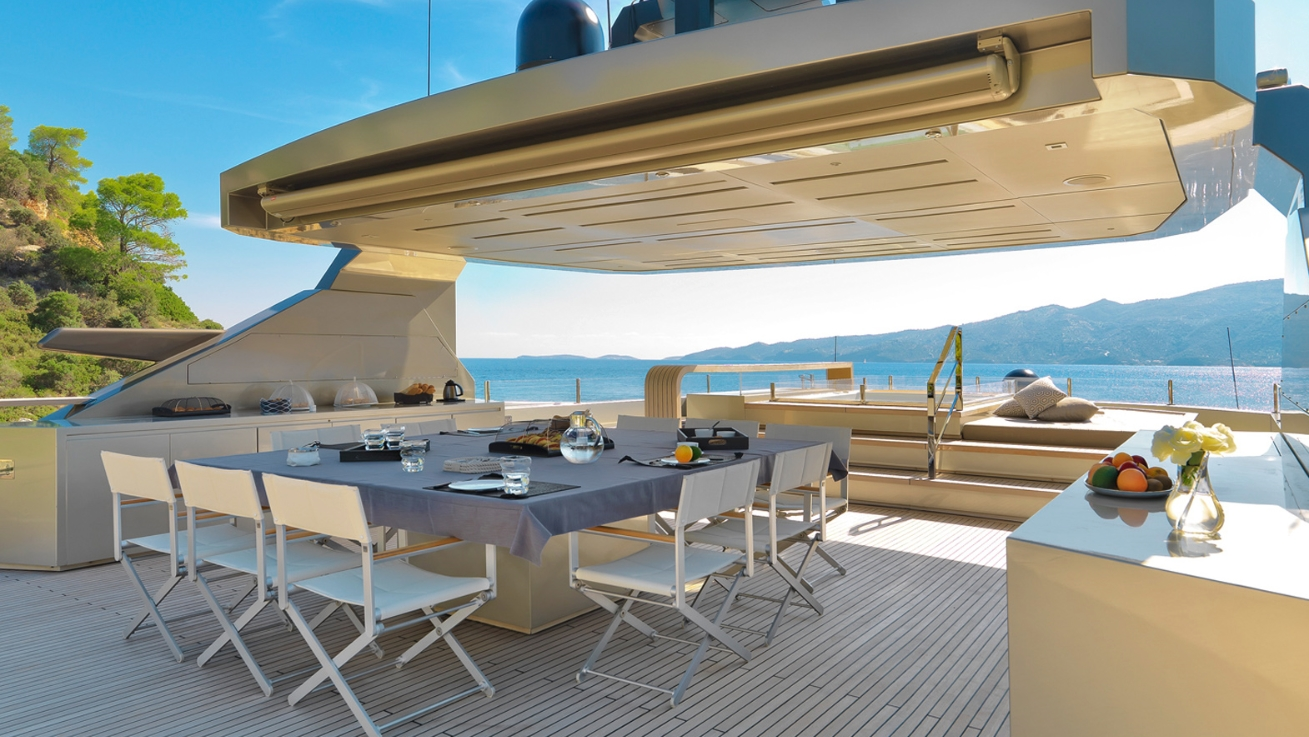 luxury yacht giraud alfresco dining and jacuzzi yacht charter superyacht news. Black Bedroom Furniture Sets. Home Design Ideas