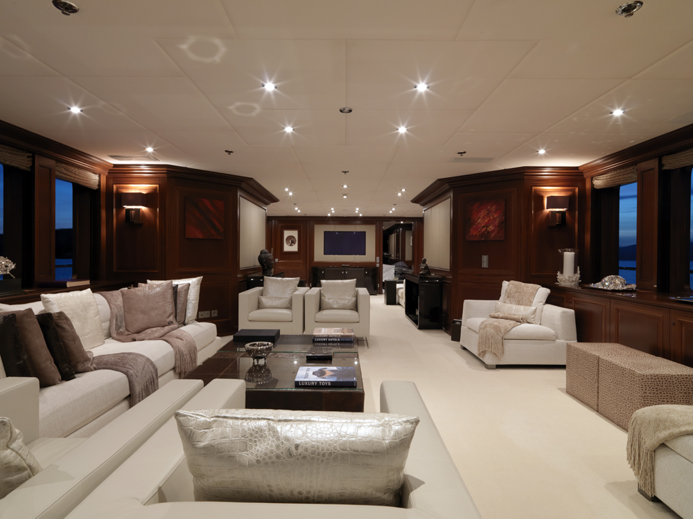 Luxury yacht my little violet main salon yacht charter for A little luxury beauty salon