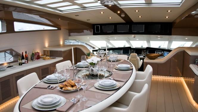 Luxury yacht RL NOOR - Formal dining. Image credit Bilgin Yachts