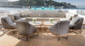 Luxury yacht SEVEN SINS - Main deck aft lounging area beside pool