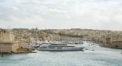 Luxury super yachts moored at Manoel Island Malta