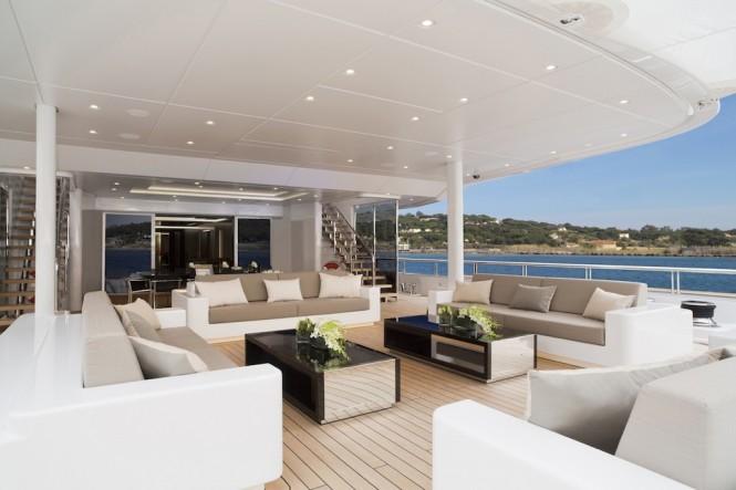 Motor yacht MOGAMBO - Main deck aft lounging and dining. Photo credit - Bruce Thomas