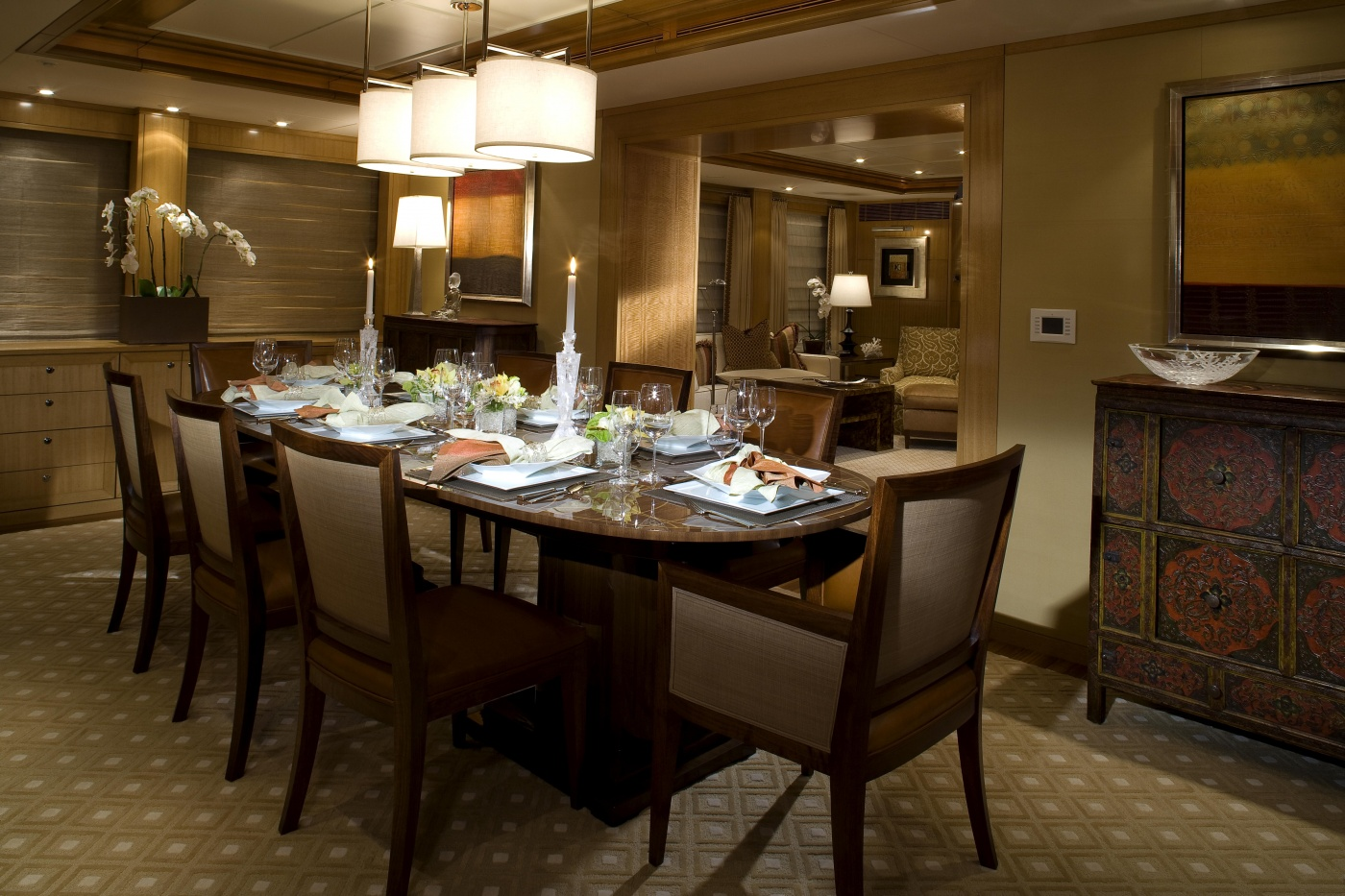 Motor yacht wildflour formal dining area image credit for Formal dining area