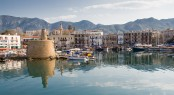 Old Harbour Of  Kyrenia, Island Of Cyprus, With The Old Lighthou