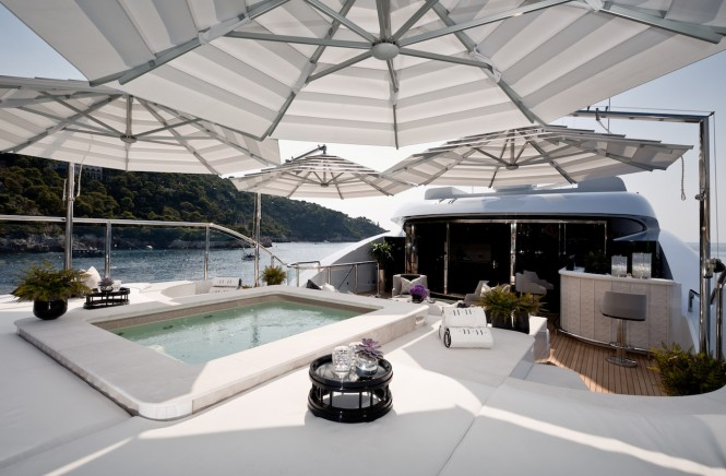Superyacht 11.11 - Bow jacuzzi and sunning area. Photo credit Jeff Brown