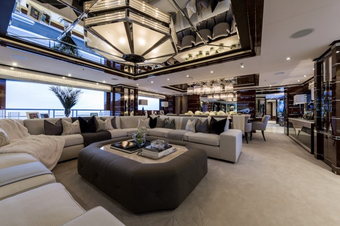 Superyacht 11.11 - Main salon and formal dining area. Photo credit Jeff Brown