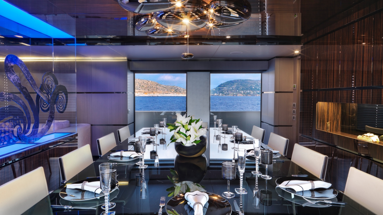 Superyacht giraud formal dining area yacht charter for Formal dining area