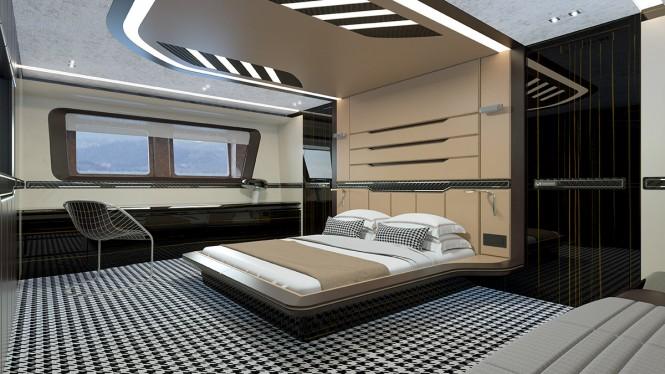 Superyacht GTT 115 - Master suite rendering. Photo credit Dynamiq