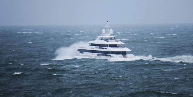 Superyacht Home in the stormy weather in the North Sea. Photo: © Dutch Yachting