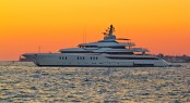 Superyacht On Yellow Sunset View