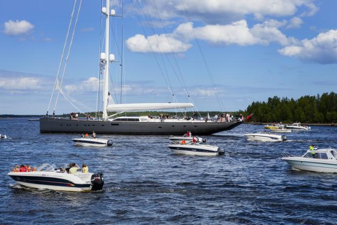 Superyacht PINK GIN VI among the 100 strong motor boat flotilla