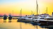 Superyacht marina sunset