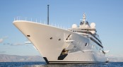 Gigantic Big And Large Luxury Mega Or Super Motor Yacht On The O