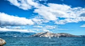 Island Seaside Or Ocean Landscape, Travel Image Of Boats, Clear