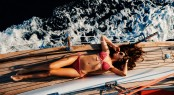 Luxury Woman Yachting In Sea Top View