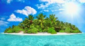 Whole Tropical Island Within Atoll In Tropical Ocean On A Summer