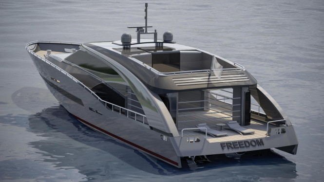 Aft view concept for 27m superyacht PROJECT FREEDOM