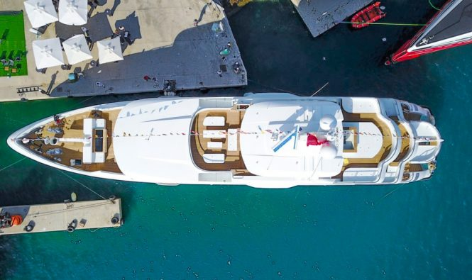 Bird's eye view of the new luxury yacht LIQUID SKY from CMB Yachts