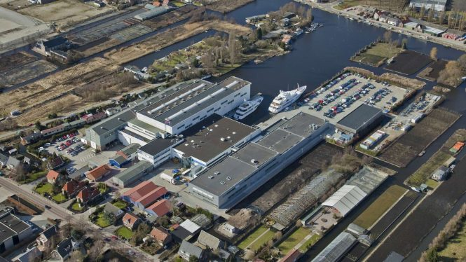 Feadship Royal de Vries yard in Aalsmeer
